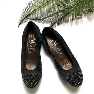 AGL | Blakely Suede Studded Cap Toe Ballet Flats